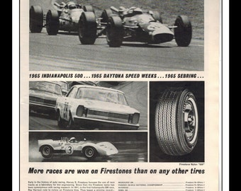 "Vintage Print Ad June 1965 : Firestone Tires Indy 500 Daytona Fred Lorenzen Wall Art Decor 8.5"" x 11"" Print Advertisement"
