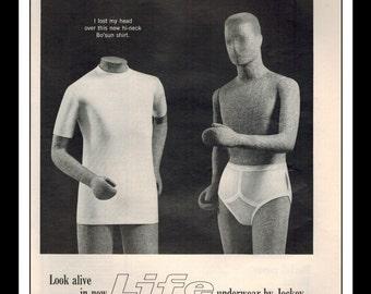 "Vintage Print Ad December 1965 : Jockey Menswear Underwear Wall Art Decor 8.5"" x 11"" Print Advertisement"