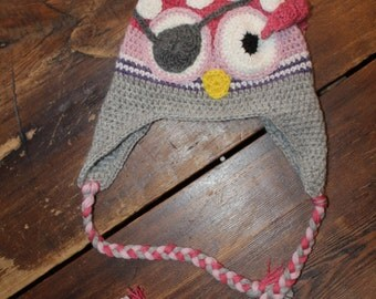 Owl Hat for Girl in Alpaca