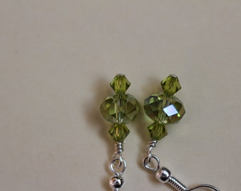 Green Crystals on Sterling Silver Earwires. (S-150087)