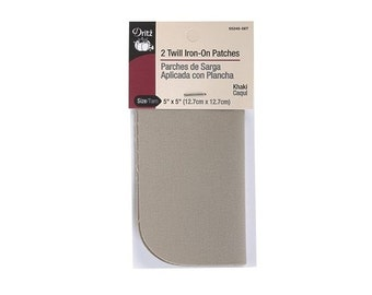 "Twill Iron-On Patches - 5""x5"" (Khaki) 2Ct by Dritz D55240-58T"