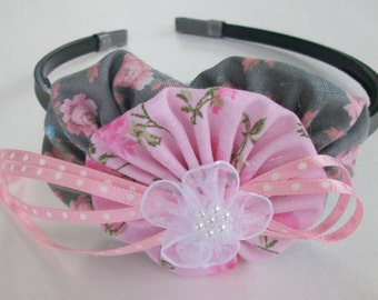 YoYo Headband , Dainty Rose , Cottage Chic Floral Headband , Gray , Pink , eclectiKIDS