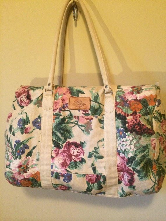 Vintage Floral Duffle Bag Vintage Luggage Floral By EmeraldandOak