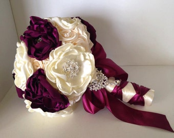 Beautiful Bridal Bouquet, Ivory and Purple Brooch Bouquet