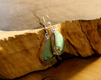 Gorgeous, Turquoise, Sterling Silver, Dangle, Earrings, Handcrafted, Turquoise, Matching Pair, Quality