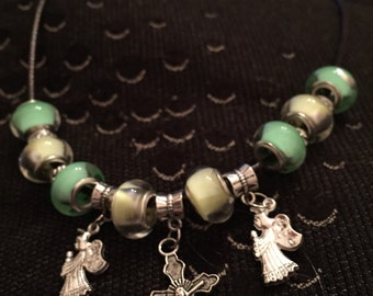 SALE Angels and cross silver charm on leather necklace green and yellow european beads