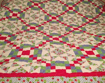 Queen size Heavy quilt in red and blue with Cherries