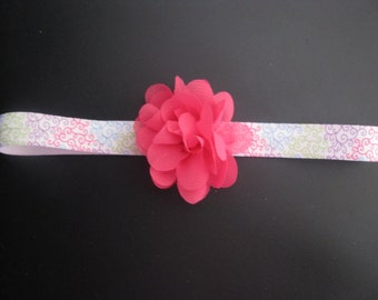 baby headband colorful swirl pink flower