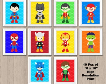 Superhero Wall Print, Superhero Wall Art, Superhero Nursery Decor, Superhero Digital Print