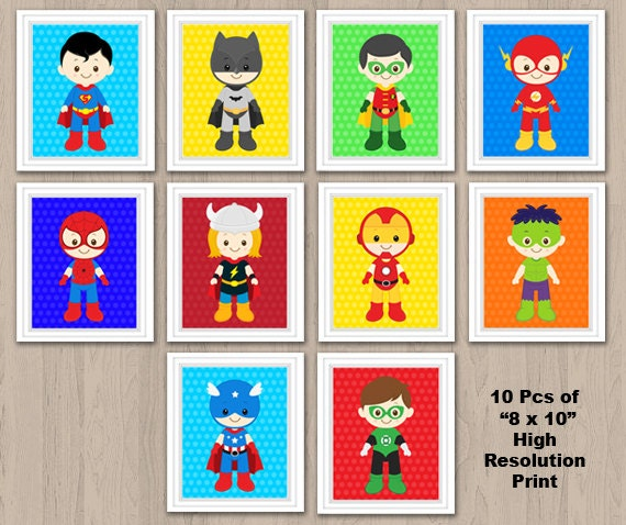 superhero wall print superhero wall art superhero nursery. Black Bedroom Furniture Sets. Home Design Ideas