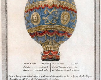 AD1 Vintage 1786 French Hot Air Balloon Advertising Advertisment Poster Re-Print Wall Decor A1/A2/A3/A4