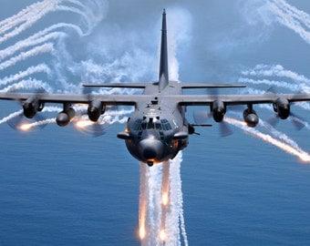MA13 Military Aircraft United States Air Force AC130 Gunship Poster Re-Print Wall Decor A2/A3/A4