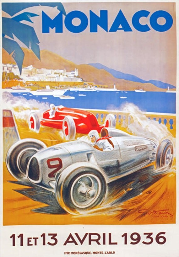 av36 vintage 1936 monaco grand prix motor racing advertising