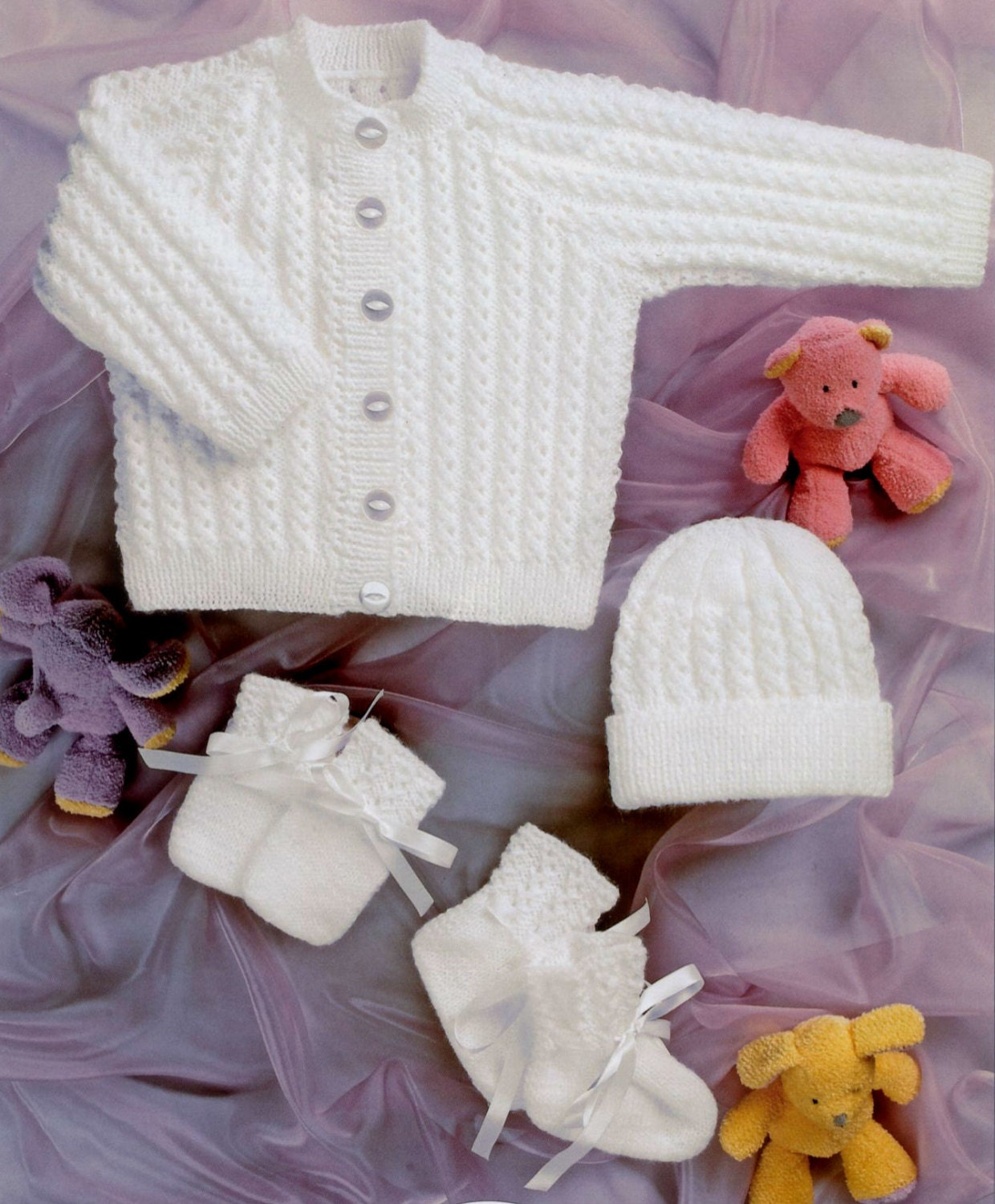 Knitting Patterns For Baby Mittens And Booties : Knit Baby Jacket Cardigan Hat Mittens Booties Vintage Pattern