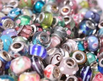 50 Pc European Charm Bracelet Glass Beads  Wholesale