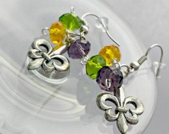 Mardi Gras Fleur de Lis Earrings
