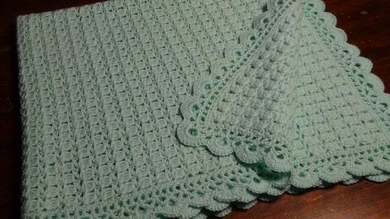 Copertina verde acqua all 39 uncinetto in pura lana vergine for Lavori all uncinetto per altari