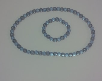 Blue Sparkle Beaded Jewerly Set (#38)