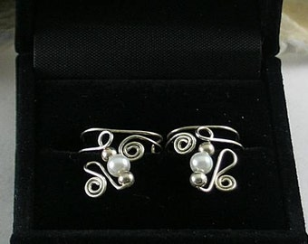 Freshwater Pearls on  Silver Ear Cuffs - Sacred Spirals