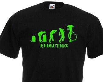 Alien Evolution. Black Men's Cotton T-shirt