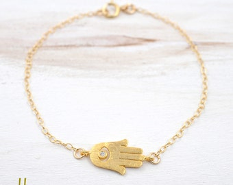 Tiny Hamsa Gold Bracelet - Delicate gold filled chain,Hand of Fatima,Lucky charm,Minimalist jewelry,Simple jewelry for everyday