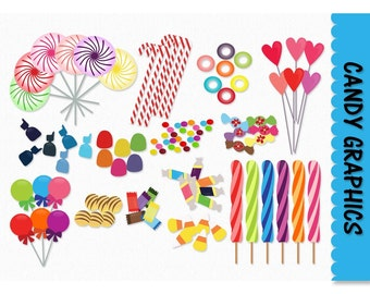 Candy Clip Art Candy Graphics Clipart Scrapbook Lolly Pop Heart Jube Jubes Chocolates Graphic Digital Download PNG Vector Commercial