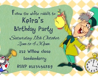 Printed Personalised Mad Hatter Birthday Party Invitations x10