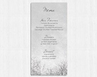 Winter Wedding menu, Printable Menu, Winter menu, trees wedding menu, rustic menu, rustic wedding, winter wedding, snow wedding menu, grey