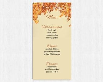 Printable Menu, Autumn menu, wedding menu, rustic menu, leaves wedding menu, printable menu, wedding menu, fall wedding menu, orange wedding