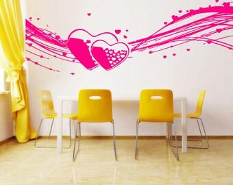 Wall Vinyl Sticker Decals Mural Room Design Heart  Love Romantic bo013