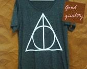 Women tops Harry Potter shirt triangle graphic short sleeve crew neck tshirt women clothes size S M L XL