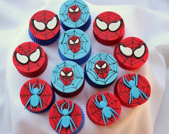Fondant spiderman cupcake toppers - photo#28