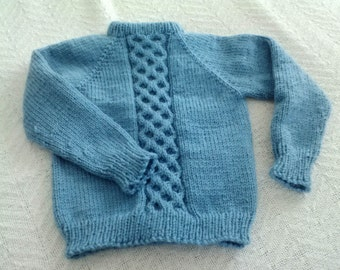 Child's Lattice-Front Pullover in Country Blue