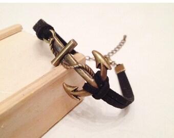 Big bronze anchor bracelet 24 colors anchor suede cord bracelet Antique bronze anchor charm bracelet women Friendship anchor bracelet men