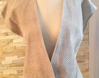1980's vintage perforated suede vest