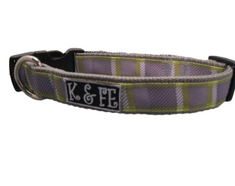 Mountain Plaid Buckle Dog Collar - Lime Green, Gray, White