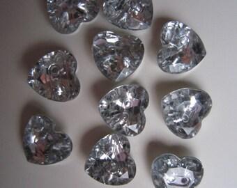 15 heart shaped rhinestone buttons
