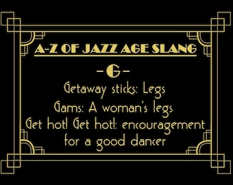 Jazz age 1920s slang words phrases sayings party decoration cards favours decor printable The Great Gatsby