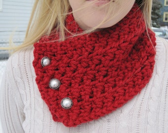 Handmade Scarf- Cowl Scarf-Scarf with Buttons-Handmade Scarf with Buttons- Dark Red Scarf- Winter Scarf- Warm Scarf- Neck Scarf