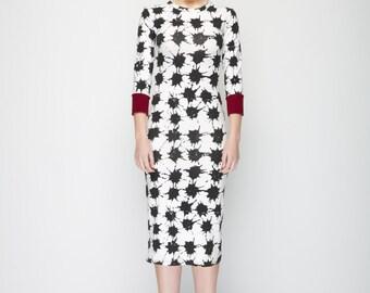 Ladylike Bodycon Jersey dress - Ivory/black print