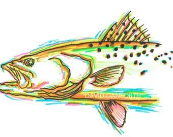Speckled Trout - Neon Fish Series - David Danforth