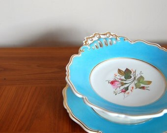 SALE 50% OFF Vintage floral cake stand and plate