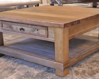 Reclaimed Salvaged Solid Wood Coffee, End Table, Vintage and Rustic