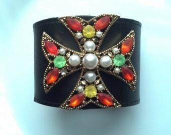 Maltese Cross Leather Cuff