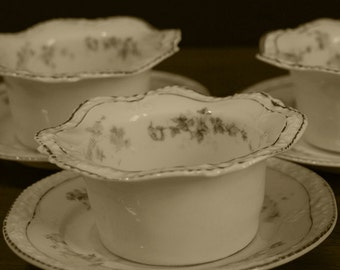 Antique Floral Pattern China Bowls Complete with Saucers - Z.S.CO Bovaria, circa 1880 to 1918