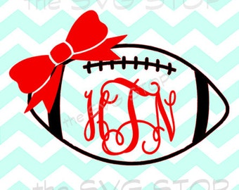 Monogram Football with bow SVG and studio files for Cricut, Silhouette, Vinyl Cutters and Screen Printing