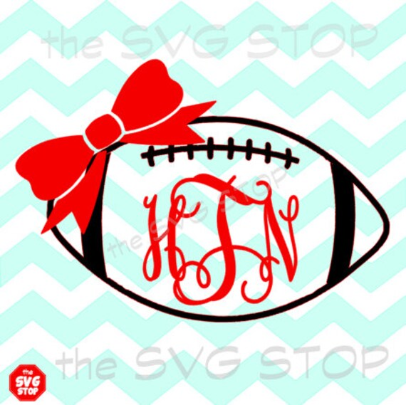 Monogram Football with bow SVG and studio files for Cricut, Silhouette ...