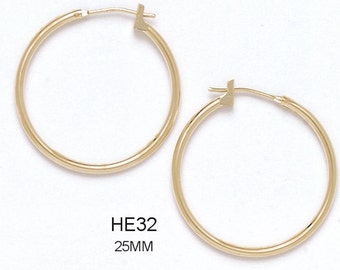 14k Solid Yellow Gold Clip-On Hoop Earrings (Available in Multiple Sizes)