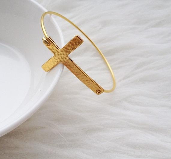 Sideways Cross Bracelet Gold Gold Curved Sideways Cross