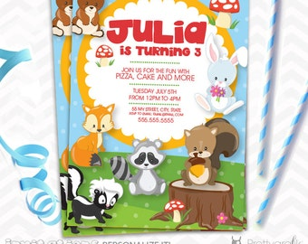 SALE Woodland animals party Invitations, personalized kids party invitation, Digital or Printed, invitations set 10 to 50 - IN144